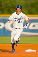 Bubba Starling (23) of the Burlington Royals rounds the bases after hitting a solo home run against the Danville Braves at Burlington Athletic Park on July 19, 2012 in Burlington, North Carolina.  The Royals defeated the Braves 4-3.  (Brian Westerholt/Four Seam Images)