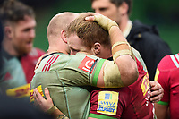 Mark Lambert and James Chisholm of Harlequins after the match. Aviva Premiership match, between Harlequins and Bath Rugby on March 2, 2018 at the Twickenham Stoop in London, England. Photo by: Patrick Khachfe / Onside Images
