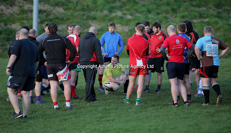FAO STEWART HUNTER, DAILY MAIL SPORTS PICTURE DESK<br />Pictured: Dean Williams (in yellow), the brother of Shane Williams, after training at Amman United RFC in Cwmamman, Wales, UK. Thursday 13 April 2017<br />Re: Former Wales international rugby player Shane Williams is to make another comeback as part of the Amman United team that contests a final at the Principality Stadium in Cardiff on Saturday.<br />40 year old Williams, Wales' record try scorer has been named in his local village side that will take on Caerphilly in the National Bowl final, having recovered from a fractured jaw in the semi-final win against Cardigan after almost five years since Williams last played for the Barbarians against Wales.<br />He retired from the Test scene after a defeat to Australia in 2011, immediately after Wales had reached the semi-final of the World Cup of that year.