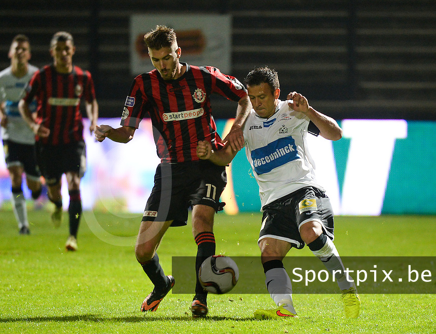 KSV Roeselare - Seraing : duel tussen Marcos Camozzato (r) en Samy Kehli (links) <br /> foto VDB / BART VANDENBROUCKE