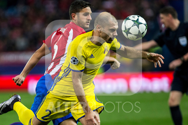 Atletico de Madrid's Koke Resurrecccion FC Rostov's Timofei Kalachev  during the match of UEFA Champions League between Atletico de Madrid and FC Rostov, at Vicente Calderon Stadium,  Madrid, Spain. November 01, 2016. (ALTERPHOTOS/Rodrigo Jimenez)