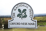 Orford Ness lighthouse Open Day, September 2017, Suffolk, England, UK - National Trust sign