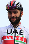 Fernando Gaviria (COL) UAE Team Emirates on stage at sign on before the 2019 Gent-Wevelgem in Flanders Fields running 252km from Deinze to Wevelgem, Belgium. 31st March 2019.<br /> Picture: Eoin Clarke | Cyclefile<br /> <br /> All photos usage must carry mandatory copyright credit (© Cyclefile | Eoin Clarke)