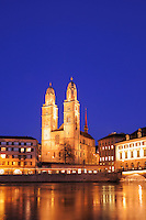 Grossmuenster at dusk,Zurich, Switzerland, Europe