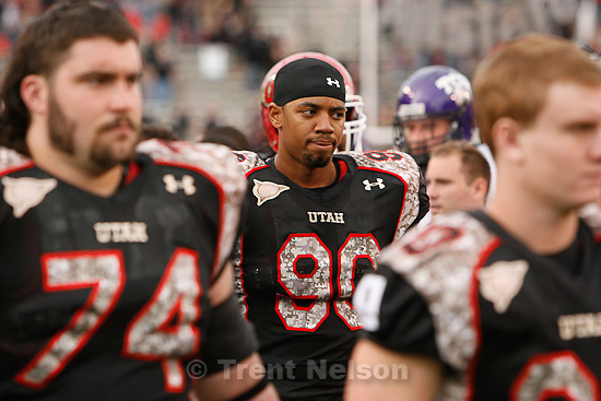 Trent Nelson  |  The Salt Lake Tribune.Utah's Derrick Shelby (90) walks off the field at the end of play, Utah vs. TCU college football, Saturday, November 6, 2010. TCU won 47-7.