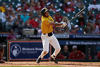 Austin James (23) of the Missouri Tigers follows through on his swing against the Oklahoma Sooners in game four of the 2020 Shriners Hospitals for Children College Classic at Minute Maid Park on February 29, 2020 in Houston, Texas. The Tigers defeated the Sooners 8-7. (Brian Westerholt/Four Seam Images)