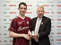 19/03/2018; 40x20 All Ireland Juvenile Championships Finals 2018; Kingscourt, Co Cavan;<br /> Boys Under-14 Singles; Galway (Mikey Kelly) v Cork (Hayden Supple)<br /> Mikey Kelly accepts his winners medal from GAA Handball President Joe Masterson<br /> Photo Credit: actionshots.ie/Tommy Grealy