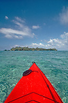 Belize, Hunting Cay, Sapodilla Cay Marine Reserve, Gulf of Honduras, Latin America, Central America, sea kayak bow,
