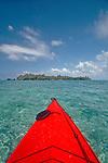 Belize, Hunting Cay, Sapodilla Cay Marine Reserve, Gulf of Honduras, Latin America, Central America, sea kayak bow,.