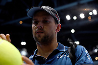 Mike Bryan signing autographs after winning against Marcelo Melo and Lukaz Kubot<br /> <br /> Photographer Hannah Fountain/CameraSport<br /> <br /> International Tennis - Nitto ATP World Tour Finals Day 2 - O2 Arena - London - Monday 12th November 2018<br /> <br /> World Copyright &copy; 2018 CameraSport. All rights reserved. 43 Linden Ave. Countesthorpe. Leicester. England. LE8 5PG - Tel: +44 (0) 116 277 4147 - admin@camerasport.com - www.camerasport.com