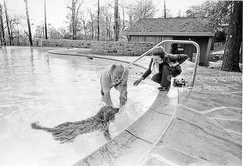 After rolling up his trousers, United States President Gerald R. Ford joined his family's new Golden Retriever, Liberty, in the pool during the President and first lady Betty Ford's second outing to the Presidential retreat at Camp David near Thurmont, Maryland on October 26, 1974.  The outing was the first for Mrs. Ford after her surgery for Breast Cancer in September, 1974.<br /> Mandatory Credit: David Hume Kennerly / White House via CNP