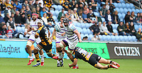 Leicester Tigers' Will Spencer is tackled by Wasps' Michael Le Bourgeois <br /> <br /> Photographer Stephen White/CameraSport<br /> <br /> Gallagher Premiership - Wasps v Leicester Tigers - Sunday 16th September 2018 - Ricoh Arena - Coventry<br /> <br /> World Copyright &copy; 2018 CameraSport. All rights reserved. 43 Linden Ave. Countesthorpe. Leicester. England. LE8 5PG - Tel: +44 (0) 116 277 4147 - admin@camerasport.com - www.camerasport.com