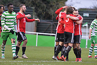 Liam Ferdinand of Bracknell Town scores the first Goal and celebrates during Waltham Abbey vs Bracknell Town, Bostik League South Central Division Football at Capershotts on 9th February 2019