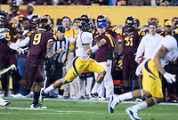 Zach Maynard of California runs outside for a touchdown during a game against Arizona State at Sun Devil Stadium in Tempe, California on November 25th, 2011  - California defeated Arizona State 47 - 38