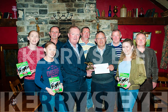Ballydonoghue GAA Presentation : Eugene O'Sullivan, Ballydonoghue Night at the Dogs committee presenting a cheque for €500.00 to Dan McNamara, Greenville Listowel winner of the Busker prize at the Ballydonoghue Night at the Dogs at The Thatch Bar, Liselton on Friday night last. Front : Elaine McNamara, Eugene O'Sullivan & Dan & Amy McNamara. Back : Joan Riordan O'Connor, John Dowling, Diarmuid Lyne, Paddy Madden & Pa Foley.