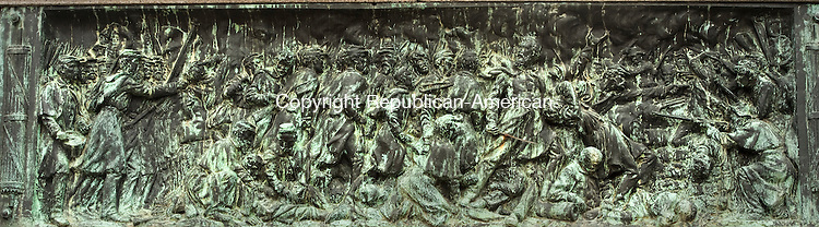 WATERBURY,  CT,  CT-041115JS79- The 48-foot tall Soldiers' Monument on the Green in Waterbury is an impressive sculpture by Civil War veteran and artist George E. Bissell. One of the panels show a depiction of a Civil War battle. <br /> Jim Shannon Republican-American