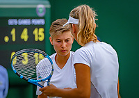 London, England, 5 th. July, 2018, Tennis,  Wimbledon, Women's doubles: Elise Mertens (BEL( and Demi Schuurs (NED) (L)<br /> Photo: Henk Koster/tennisimages.com