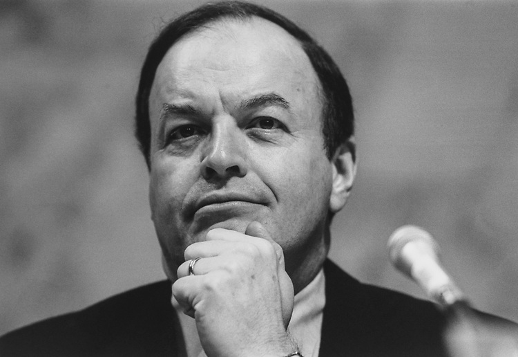 Close-up of Sen. Richard Shelby, D-Ala., at Whitewater hearing in July 1995. (Photo by Gigi Goshko/CQ Roll Call via Getty Images)