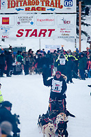Ed Stielstra team leaves the start line during the restart day of Iditarod 2009 in Willow, Alaska