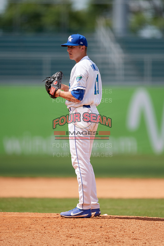 Lexington Legends relief pitcher Andrew Beckwith (11) gets ready to deliver a pitch during a game against the Rome Braves on May 23, 2018 at Whitaker Bank Ballpark in Lexington, Kentucky.  Rome defeated Lexington 4-1.  (Mike Janes/Four Seam Images)