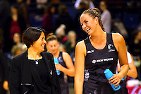 10.02.2017 Silver Ferns Kelly Jury speaks with coach Janine Southby after the Silver Ferns v England Roses Vitality Netball International Series test match played at the Echo Arena in Liverpool. Mandatory Photo Credit © Paul Greenwood/Michael Bradley Photography.