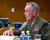 "The Chairman of the Joint Chiefs of Staff, United States Marine Corps General Joseph F. Dunford, Jr., testifies at a US Senate Committee on Appropriations Subcommittee on Defense hearing entitled ""A Review of the Budget & Readiness of the Department of Defense"" on Capitol Hill in Washington, DC on Wednesday, March 22, 2017.<br /> Credit: Ron Sachs / CNP"