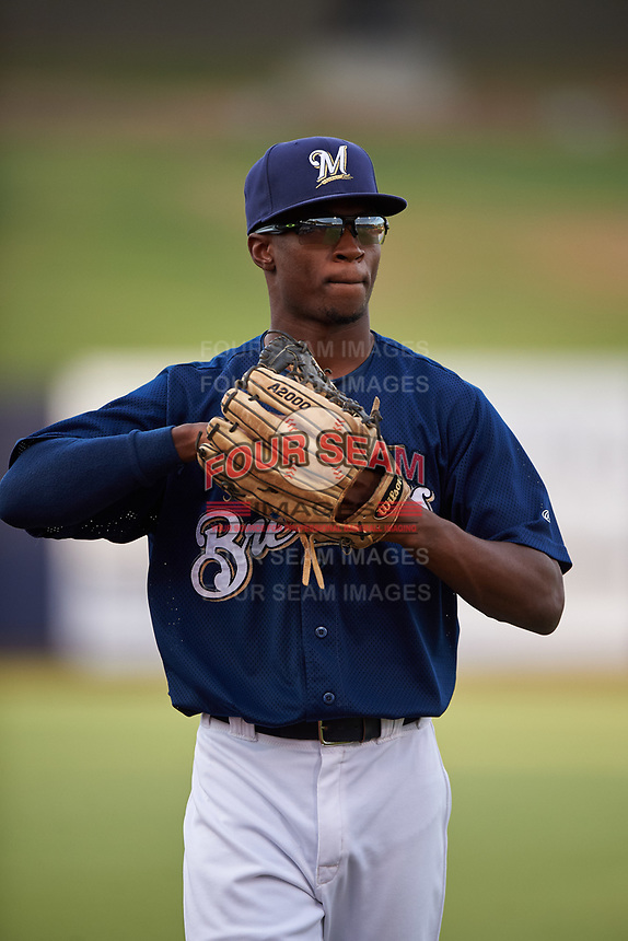 AZL Brewers Blue Terence Doston (9) during an Arizona League game against the AZL Rangers on July 11, 2019 at American Family Fields of Phoenix in Phoenix, Arizona. The AZL Rangers defeated the AZL Brewers Blue 5-2. (Zachary Lucy/Four Seam Images)