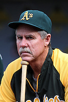 Oakland Athletics coach Phil Garner before a game against the Los Angeles Angels at Angel Stadium on September 24, 2011 in Anaheim,California. Los Angeles defeated Oakland 4-2.(Larry Goren/Four Seam Images)