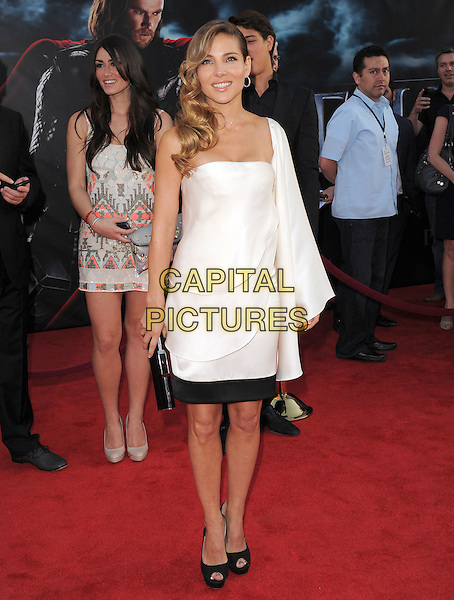 """ELSA PATAKY.The Marvel Studios Premiere of """"THOR"""" held at The El Capitan Theatre in Hollywod, California, USA. .May 2nd, 2011.full length black white one shoulder sleeve dress.CAP/RKE/DVS.©DVS/RockinExposures/Capital Pictures."""