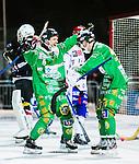 Stockholm 2015-01-16 Bandy Elitserien Hammarby IF - IFK Kung&auml;lv :  <br /> Hammarbys Per Einarsson firar sitt 4-2 m&aring;l med Hammarbys Adam Gilljam under matchen mellan Hammarby IF och IFK Kung&auml;lv <br /> (Foto: Kenta J&ouml;nsson) Nyckelord:  Elitserien Bandy Zinkensdamms IP Zinkensdamm Zinken Hammarby Bajen HIF IFK Kung&auml;lv jubel gl&auml;dje lycka glad happy