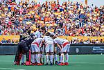 Den Bosch  -  Overleg bij de Belgen    tijdens   de Pro League hockeywedstrijd heren, Nederland-Belgie (4-3).     COPYRIGHT KOEN SUYK