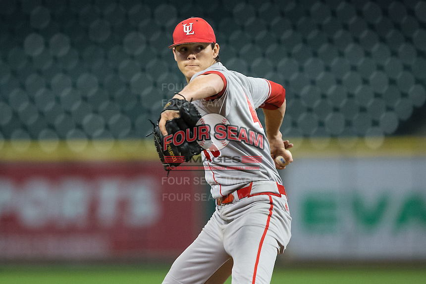 Louisiana-Lafayette Ragin' Cajuns starting pitcher Nick Lee (46) in action against the Rice Owls in game nine of the Shriners Hospitals for Children College Classic at Minute Maid Park on February 28, 2016 in Houston, Texas.  The Ragin' Cajuns defeated the Owls 4-2.  (Brian Westerholt/Four Seam Images)
