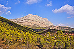Mont Sainte-Victoire, seen from a hiking trail east of Le Tholonet. Cezanne created many paintings of the mountain from this point of view.
