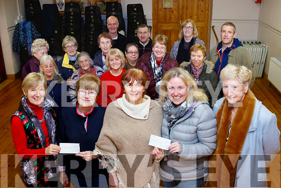 Last Thursday night, November 30th at the old school, Camp, Front L-R Mary Knightley, Camp ICA , Nora Quirke, Cystic Fibrosis Kerry Branch, Breda Quirke, President of Camp ICA, with Andrea O'Donoghue & Mired Fernane both Kerry Hospice, each charities received cheques from the proceeds of a coffee morning last September. On the same night the Kennedy Family Wren, many in the back of picture, donated a seperate cheque also to the Kerry Hospice