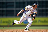 California Golden Bears second baseman Derek Campbell #2 lunges for a ground ball against North Carolina Tar Heels in the NCAA baseball game on March 2nd, 2013 at Minute Maid Park in Houston, Texas. North Carolina defeated Cal 11-5. (Andrew Woolley/Four Seam Images).