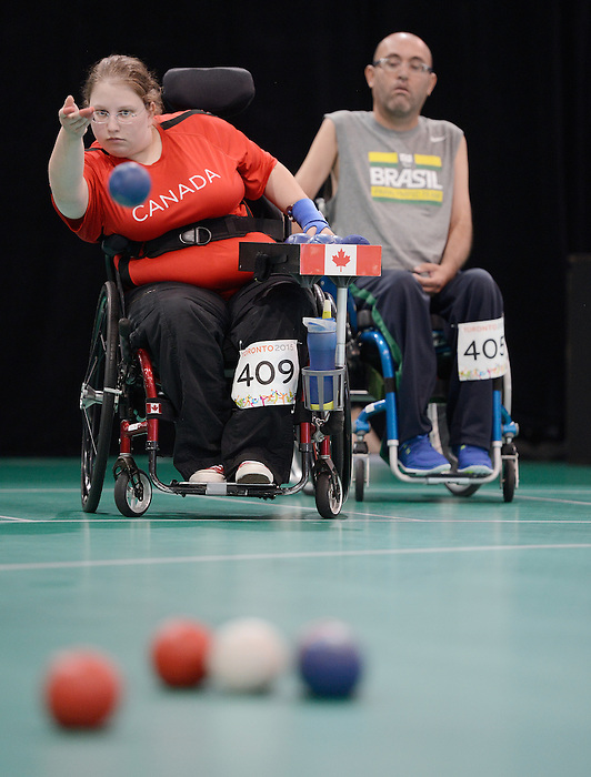 Toronto, ON - Aug 11 2015 - Alison Levine competes in the Individual BC4 - Semifinal Match 4 in the Abilities Centre during the Toronto 2015 Parapan American Games  (Photo: Matthew Murnaghan/Canadian Paralympic Committee)