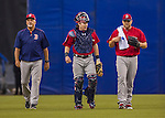 2 April 2016: Boston Red Sox catcher Ryan Hanigan is flanked by starting pitcher Sean O'Sullivan (right) and pitching coach Carl Willis (right) prior to an exhibition game against the Toronto Blue Jays at Olympic Stadium in Montreal, Quebec, Canada. The Red Sox defeated the Blue Jays 7-4 in the second of two MLB weekend games, which saw a two-game series attendance of 106,102 at the former home on the Montreal Expos. Mandatory Credit: Ed Wolfstein Photo *** RAW (NEF) Image File Available ***