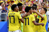 SAMARA - RUSIA, 28-06-2018: Yerry MINA (segundo desde Izq) jugador de Colombia celebra después de anotar un gol a Senegal durante partido de la primera fase, Grupo H, por la Copa Mundial de la FIFA Rusia 2018 jugado en el estadio Samara Arena en Samara, Rusia. /  Yerry MINA (second from L) player of Colombia celebrates after scoring a goal to Senegal during match of the first phase, Group H, for the FIFA World Cup Russia 2018 played at Samara Arena stadium in Samara, Russia. Photo: VizzorImage / Julian Medina / Cont
