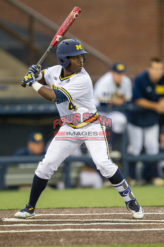 Michigan Wolverines second baseman Ako Thomas (4) at bat against the Oakland Golden Grizzlies on May 17, 2016 at Ray Fisher Stadium in Ann Arbor, Michigan. Oakland defeated Michigan 6-5 in 10 innings. (Andrew Woolley/Four Seam Images)