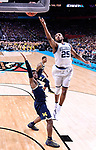 SAN ANTONIO, TX - APRIL 02:  Mikal Bridges #25 of the Villanova Wildcats shoots the ball against the Michigan Wolverines in the 2018 NCAA Men's Final Four National Championship game at the Alamodome on April 2, 2018 in San Antonio, Texas.  (Photo by Jamie Schwaberow/NCAA Photos via Getty Images)