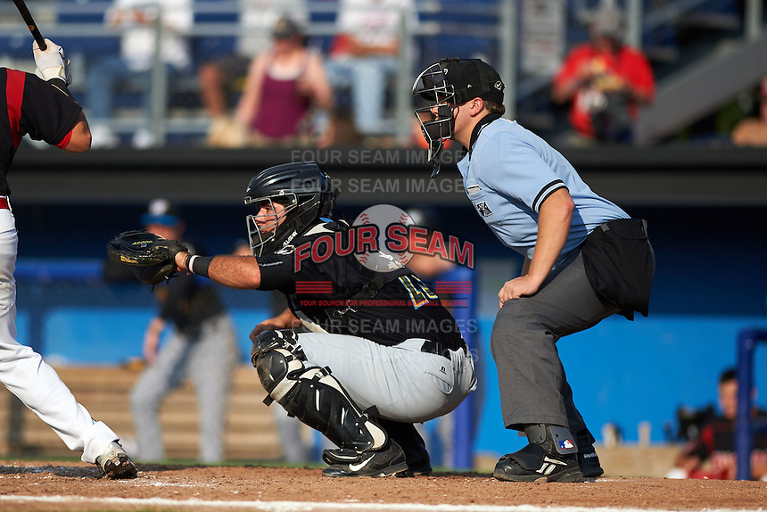 West Virginia Black Bears catcher Daniel Arribas (23) and umpire Matt Carlyon during a game against the Batavia Muckdogs on August 30, 2015 at Dwyer Stadium in Batavia, New York.  Batavia defeated West Virginia 8-5.  (Mike Janes/Four Seam Images)