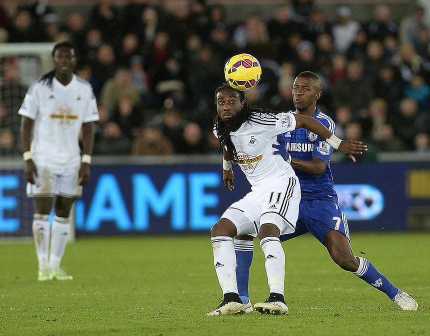 Swansea City's Marvin Emnes vies for possession with Chelsea's Ramires<br /> <br /> Photographer /Ashley CrowdenCameraSport<br /> <br /> Football - Barclays Premiership - Swansea City v Chelsea - Saturday 17th January 2015 - Liberty Stadium - Swansea<br /> <br /> &copy; CameraSport - 43 Linden Ave. Countesthorpe. Leicester. England. LE8 5PG - Tel: +44 (0) 116 277 4147 - admin@camerasport.com - www.camerasport.com