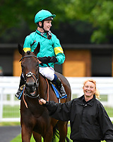 Winner of The European Bloodstock News EBF 'Lochsong' Fillies' Handicap Poets Vanity ridden by Oisin Murphy and trained by Andrew Balding is led into the winners enclosure during the Bathwick Tyres & EBF Race Day at Salisbury Racecourse on 6th September 2018