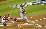 12 October 2012: The St. Louis Cardinals first baseman Allen Craig in action during Postseason Playoff Game 5 of the National League Divisional Series against the Washington Nationals at Nationals Park in Washington, DC. The Cardinals stunned the home team Nats with a four-run rally in the 9th inning to defeat the Nationals 9-7 and win the NLDS, moving on to the NL Championship Series. Mandatory Credit: Ed Wolfstein Photo