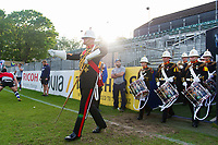 Her Majesty's Royal Marines Band Service enter the field. Remembrance Rugby match, between Bath United and the UK Armed Forces on May 10, 2017 at the Recreation Ground in Bath, England. Photo by: Patrick Khachfe / Onside Images