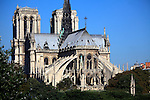 East end of Notre Dame cathedral with flying buttresses .city of Paris. Paris. France