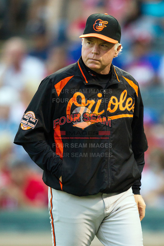 Baltimore Orioles manager Buck Showalter during the Major League Baseball game against the Texas Rangers on August 21st, 2012 at the Rangers Ballpark in Arlington, Texas. The Orioles defeated the Rangers 5-3. (Andrew Woolley/Four Seam Images).