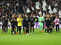 Eintracht wird von den Fans nach dem 1:1 gefeiert - 02.05.2019: Eintracht Frankfurt vs. Chelsea FC London, UEFA Europa League, Halbfinale Hinspiel, Commerzbank Arena DISCLAIMER: DFL regulations prohibit any use of photographs as image sequences and/or quasi-video.