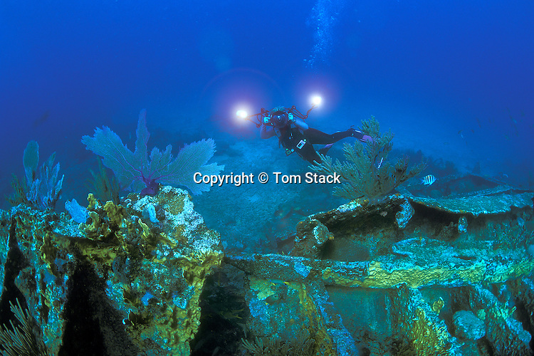 "Underwater photographer at the ""City of Washington"" shipwreck off Key Largo, Florida"