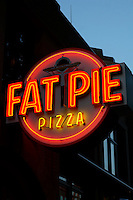 Fat Pie Pizza neon sign in Fairhaven, Bellingham, Washington state, USA